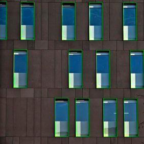 Black panels & green frames windows - 01