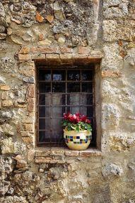 Brown rustic wall window
