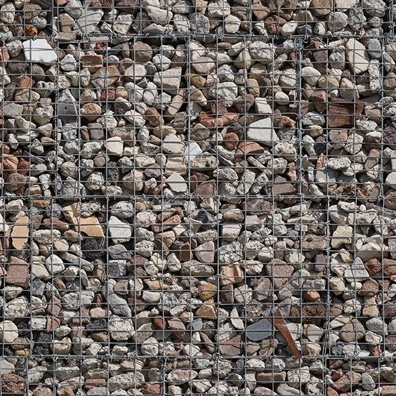 Colored pebbles wall in ruins - 01