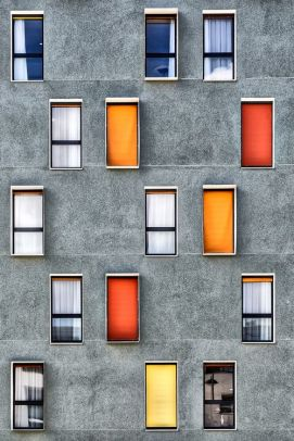 Colorful asymetric windows facade - 01