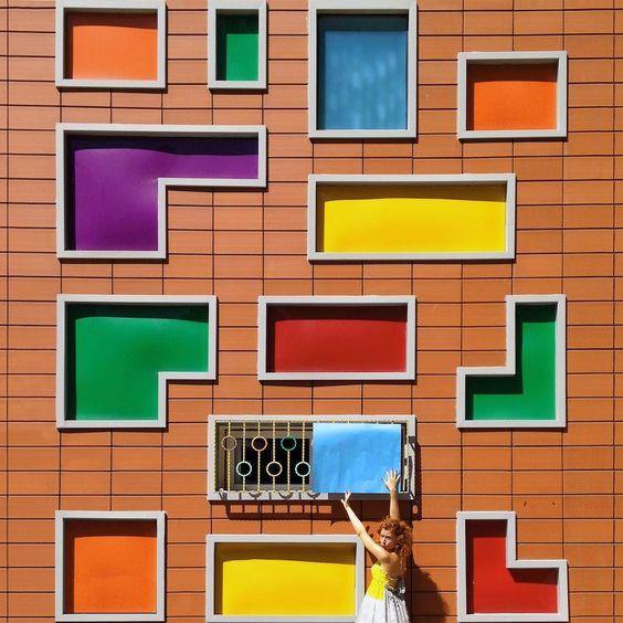 Colorful windows facade.Istanbul - 01