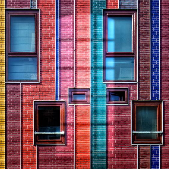 Colorfull bricks facade & windows - 01