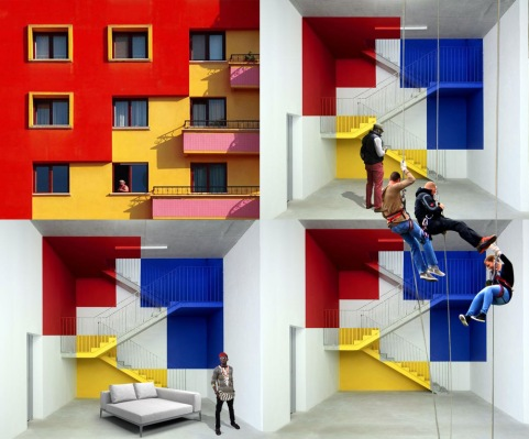 Colorfull stairs perspective-3b