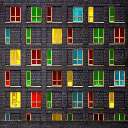 Colorfull windows & grey facade - 01