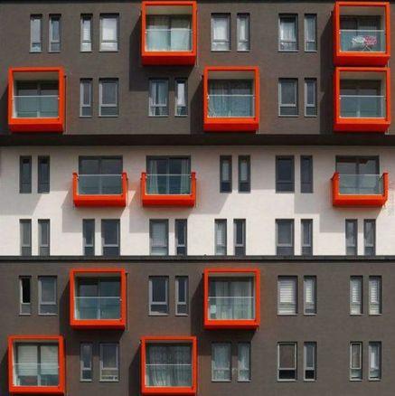 Grey & red patterns facade - 01