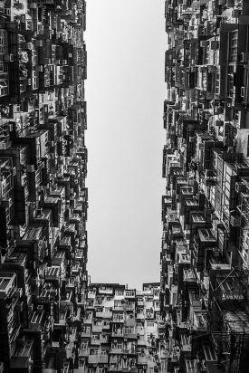 Patio de edificio desde abajo