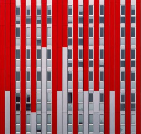 Red & silver sheets building