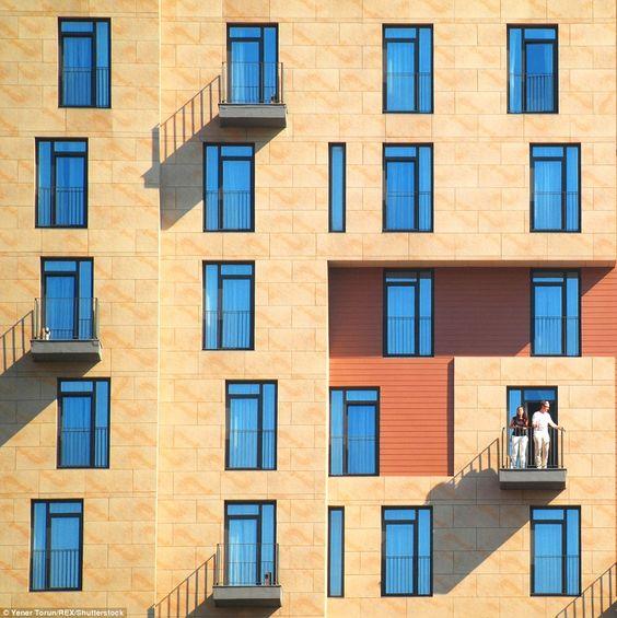 Sepia facade blue windows & balconies - 01