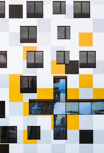 White yellow facade
