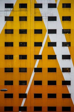 Yellow white derelicted facade