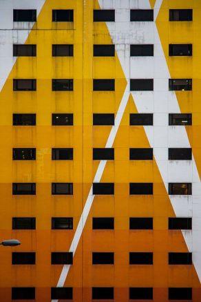 Yellow white derelicted facade